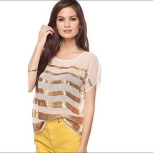 Forever 21 chiffon gold bling and semi sheer top